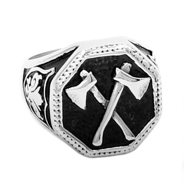 Venta al por mayor eslavo Perun Axe Biker anillo de acero inoxidable joyería Punk clásico eslavo Perun Motor Biker anillo para hombres