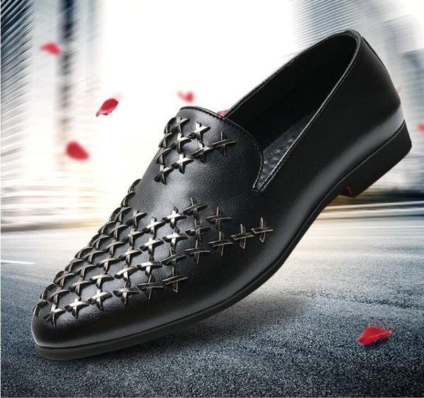 2018 NEW style Man Fashion Galaxy Dance Shoes Men's Genuine Leather Rivets Wedding Party Flats Mens Casual Dress Business Shoe G272
