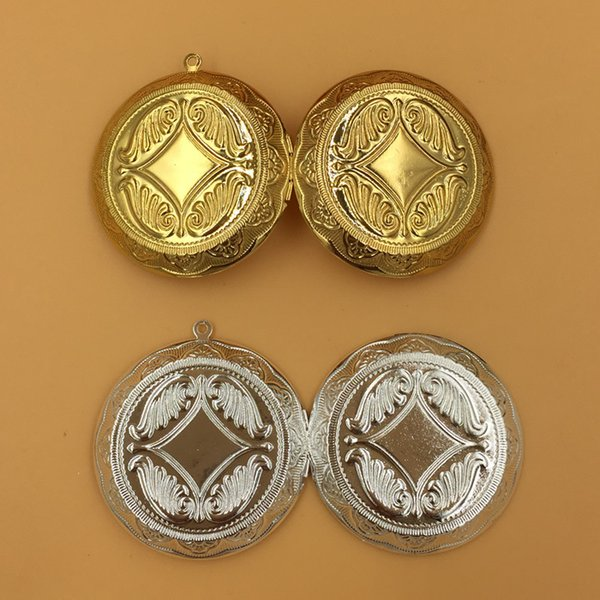 4pcs 45*10MM Silver/antique bronze/gold big large copper round photo locket charms base jewelry, assorted picture frame pendants wish box