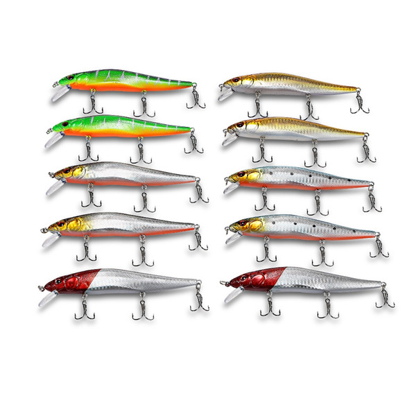 10PCS Fishing Lure in Bait Deep Swim Hard Bait Fish Tackle Float Minnow Fishing Wobbler Japan Pesca Crankbait with Hooks Box