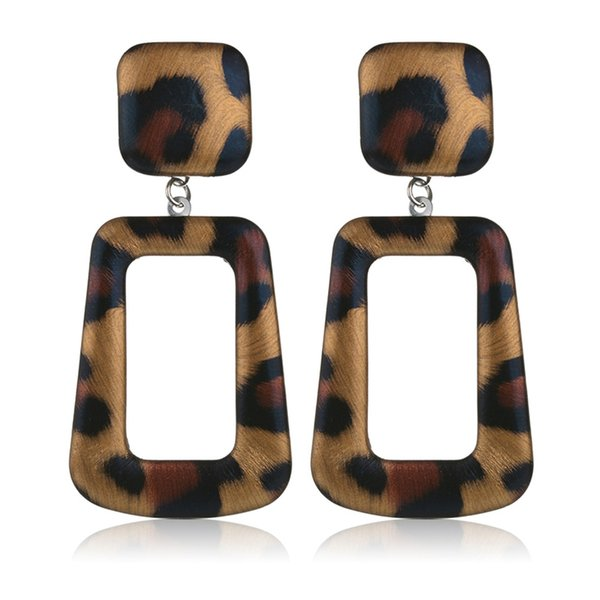 PU Leather Wrapped Square Leopard Earings Women's Big Statement Party Earrings Jewelry Gifts Boho Animal Skin Print Earrings