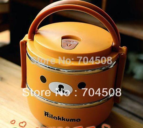 Al por mayor-KT156 Cute Lovely Relax Bear bento box 2 niveles, caja de almuerzo de acero inoxidable + mango 1400ml