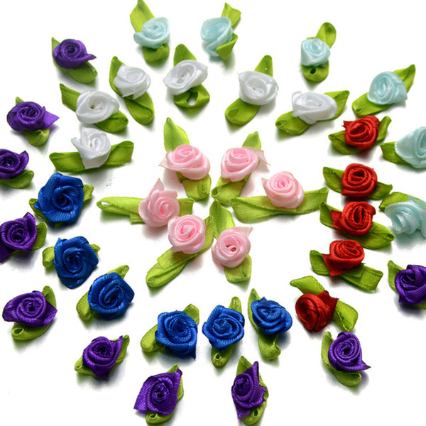 best selling 300pcs lot Small Satin Ribbon Roses Buds Embellishments Wedding Party Decorative Flowers 27 colors to choose Colour & Packet Size