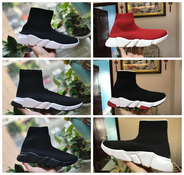 top popular Luxury Sock Shoes Casual Shoe Speed Trainer High Quality Sneakers Speed Trainer Sock Race Runners black Shoes men and women Luxury Shoe 2019