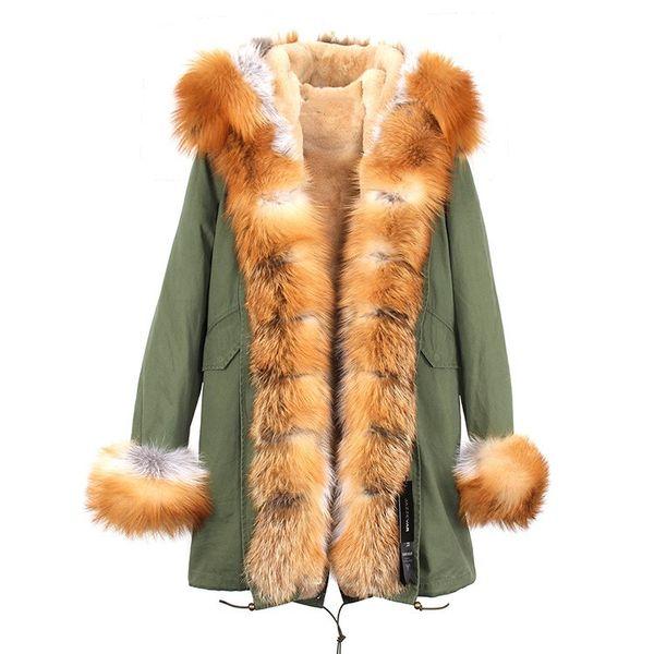Lussuosa giacca Jazzevar in pelliccia di procione marrone, giacca in pelliccia da donna marrone, volpe bianca e pelliccia di coniglio, fodera verde militare lungo parka