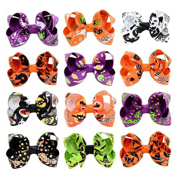 Cute 12 pcs 3.15 inch Halloween Grosgrain Ribbon Bows With Clip Ghost Pumpkin Pinwheel Hair Clips Hair Pin Accessories Hair Bows