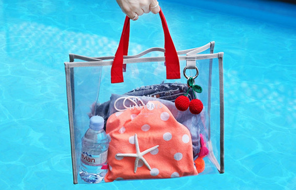 PVC-Kosmetiktaschen zum Schwimmen Strandartikel Transparente Kosmetiktaschen für Resort-Geschäftsreisen Große Kapazität PVC-Taschen