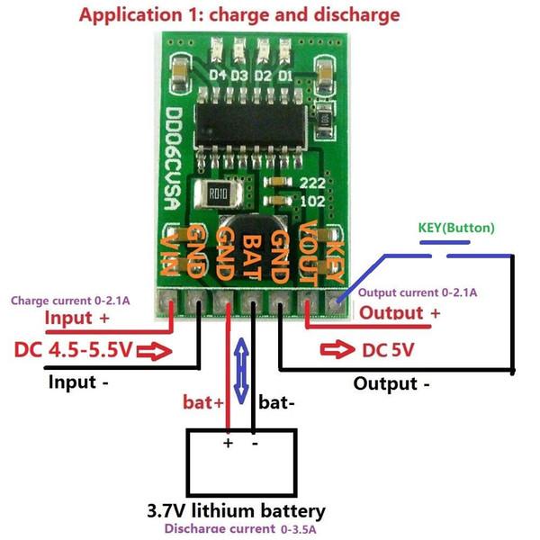 Livraison gratuite NOUVELLE 5V 2.1A Charge Charge boost Module 3.7 V 4.2V Li-ion 18650 LED batterie