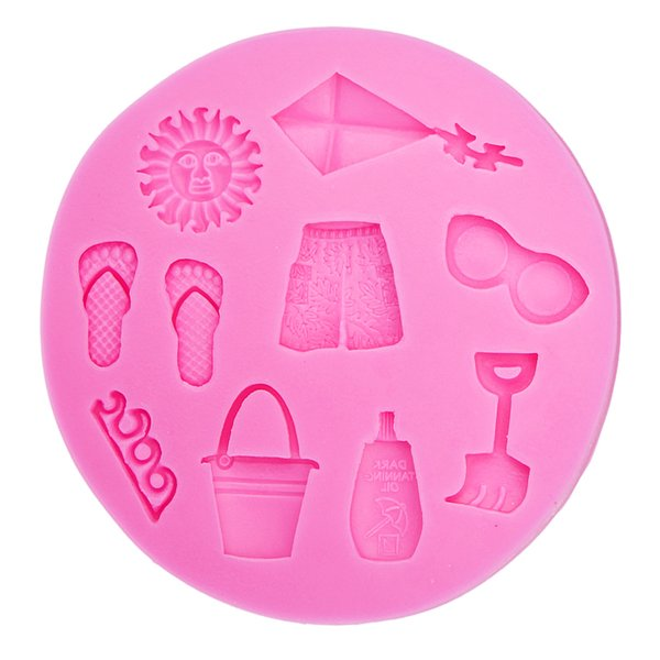 3D Hot Summer Beach Sun Kite Sea Wave Slipper glasses Shorts Silicone Mold DIY party cake Decorating Tools T0483