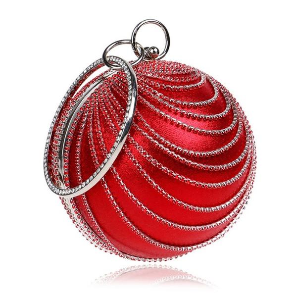 Recién llegado de diamantes de imitación de la borla de las mujeres bolsos de noche Diamantes Mango Accesorio Redondo Diseño Día Embragues Monedero Bolsos de noche