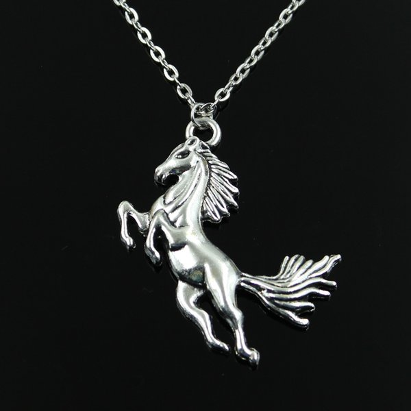 Simple Classic fashion running horse Antique Silver Pendant Girl Short Long Chain Necklaces Jewelry for women