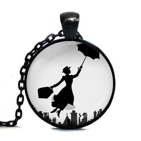 Mary Poppins Pendant Necklace classical movie chain Jewelry womens mens gift vintage antique charms necklaces lady umbrella fly
