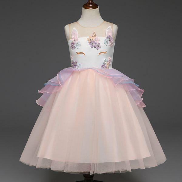 2 bis 6 Jahre Mädchen Sommer Einhornkleid, Blumen- / Perlenkleidung, festliche Feier, Kinderjugendboutique-Tüllkleidung, 2AQ510DS-40