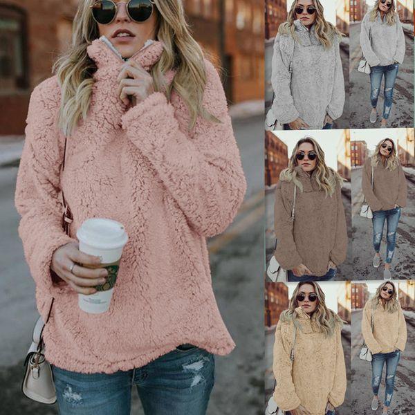 Women Winter Warm Velour Hoodies 2018 Solid Hooded Zip Collar Long Sleeve Loose Casual Sweatshirts Khaki Gray Fleece Women Clothing