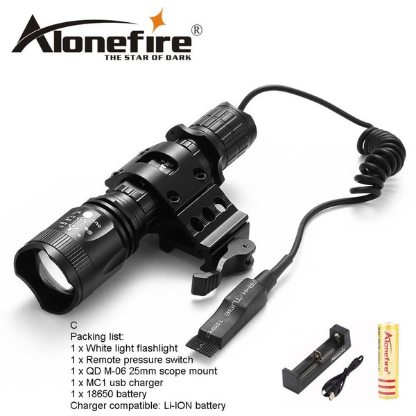 AloneFire TK400 CREE XML L2 LED Tactical Flashlight Torch Light linternas Outdoor Hunting Mount Holder remote control for 1x18650