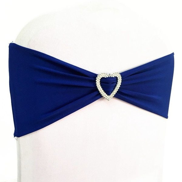 50pcs Royal Blue Lycra Stretch Wedding Chair Bow Sash Elastic Spandex Chair Band With Heart Buckle For Hotel Event Wedding