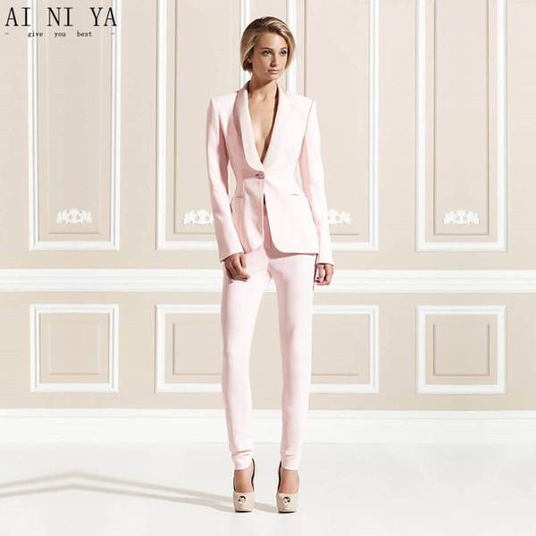Jacket+Pants Pink Women Business Suits Formal Office Uniform 2 Piece Sets Ladies Elegant Pant Suits Female Trouser Suit Custom