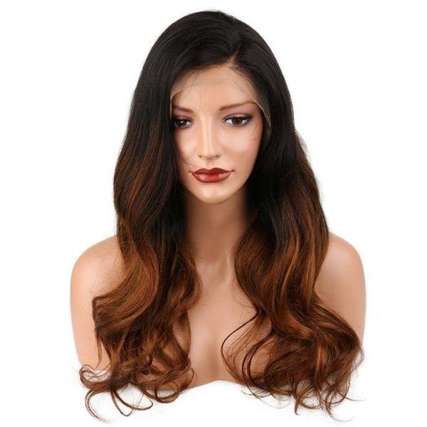 Ücretsiz Kargo Ombre 1b 30 # Renk Brezilyalı İnsan Saç Tam Dantel Peruk Vücut Dalga Iki Ton Dantel Ön Peruk 150% yoğunluk