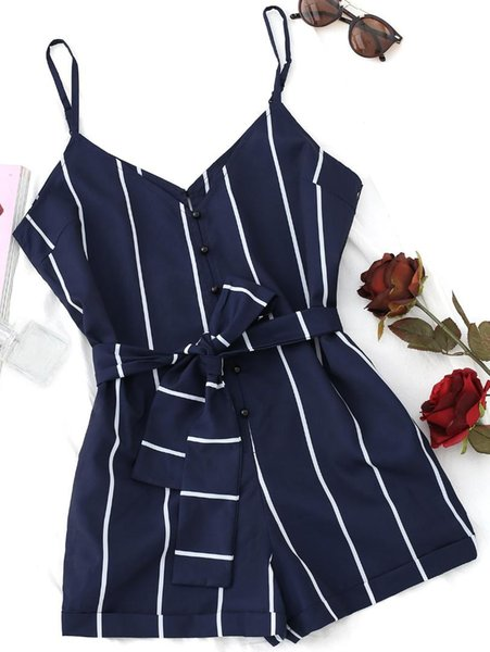 ZAFUL Summer Stripe Belted Spaghetti Strap Women Romper V Neck Halter Adjustable Strap Sleeveless Jumpsuit Bodysuit Women