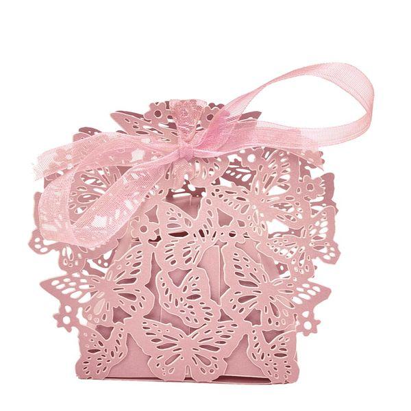 20 teile / satz Romantische Hochzeit bevorzugt Dekor Schmetterling DIY Süßigkeiten Cookie Geschenkboxen Hochzeit Candy Box mit Band 4 Farben