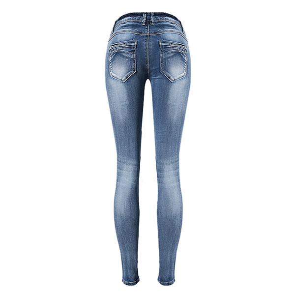 Art-Frauen-Weinlese-Jeans-Hosen-gebleichte Loch-Dame Denim Jeans Pencil Pants