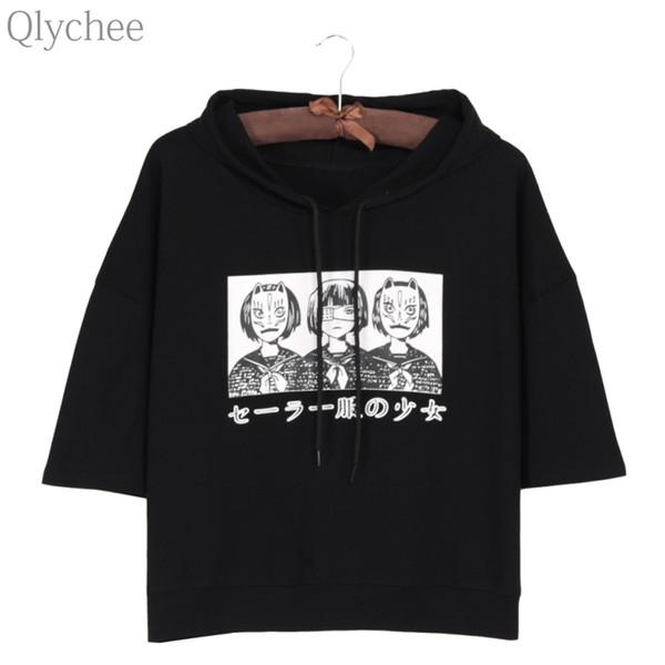 Al por mayor-Qlychee Harajuku estilo sudadera con capucha mujer camiseta Japón Anime máscara chica estampado japonés camiseta media manga suelta Top camiseta informal