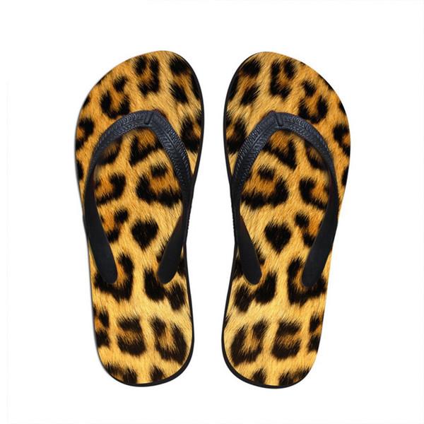 Großhandel Mode Frauen Sommer Hause Strand Gummi Flip Flops Leopardenmuster Weibliche Flache Hausschuhe dame Mädchen Sandalen Schuhe