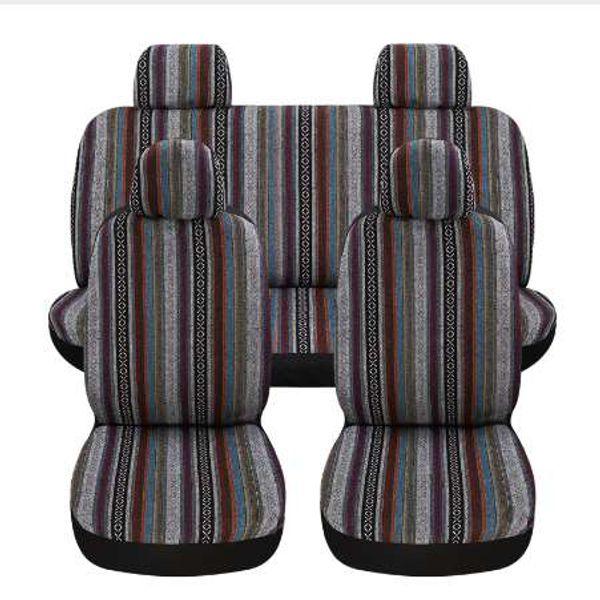 Autositzbezüge flachs Farbe bar streifen Ethnischen stil Universal Vorne Hinten Sitz Volldeckung Innen Zubehör Neu Für Kia Nissan