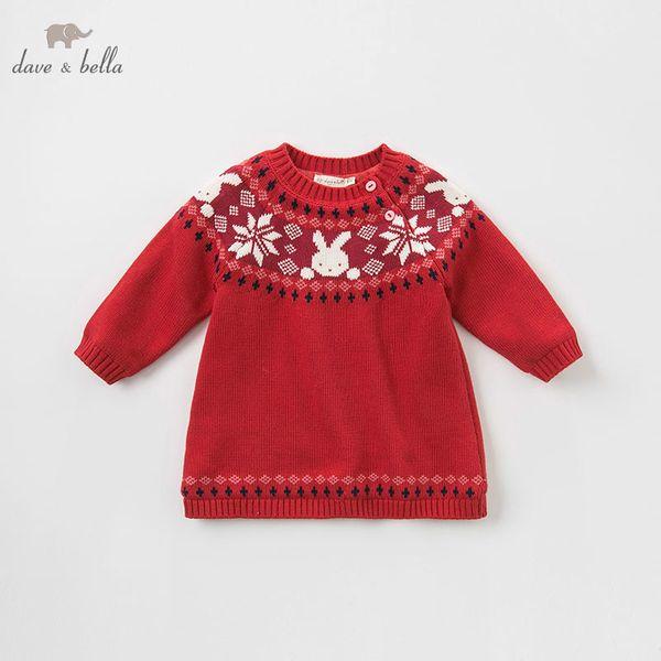 DBZ8398 dave bella autunno bambino Knit Dress ragazze abiti di Natale infantile bambino di alta qualità vestiti per bambini lolita vestito