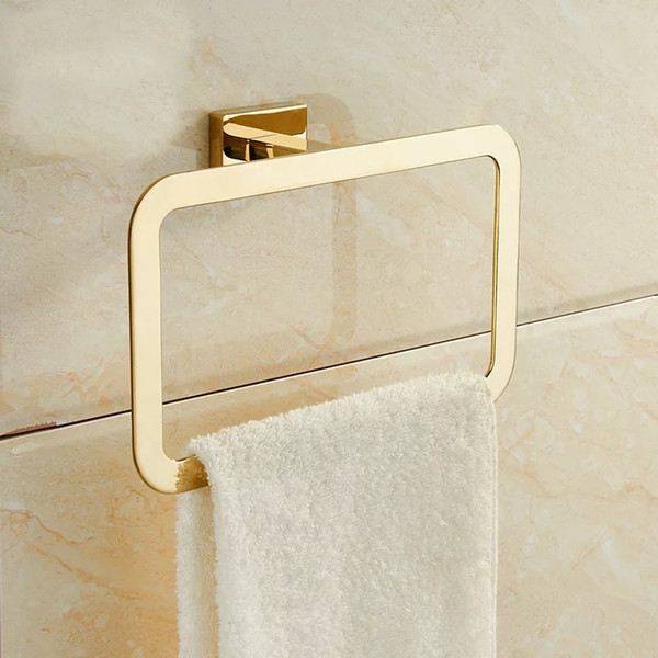 best selling Gold towel rings Square Shape Wall Mounted bath towel Holder Polished Stainless Steel towel bar rack bathroom hardware