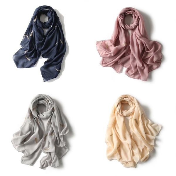 New Design Plain Cotton Shawls Embroidery Feather Scarf Summer Muslim Glitter Hijab Wraps Long Muffler Viscose Head Scarves 15mc aa