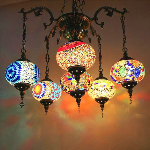 hot sale online 16a41 ccabf Bohemia Turkish Moroccan Pendant Light Handmade Mosaic Stained Glass  Corridor Stairwell Cafe Restaurant Hanging Light Lamp Contemporary Pendant  Lights ...
