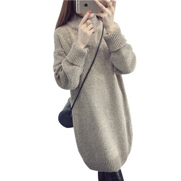 New Hot Sale Women's Half Turtleneck Knit Sweaters Dresses Autumn Winter Long Section Woman Loose Thick Pullovers 6 Colors S1030