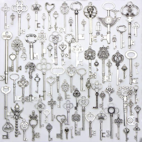 80 unids / lote 5 mm agujero de diámetro llave de metal granos flojos del encanto de bricolaje accesorio de joyería colgante para llavero pulsera collar