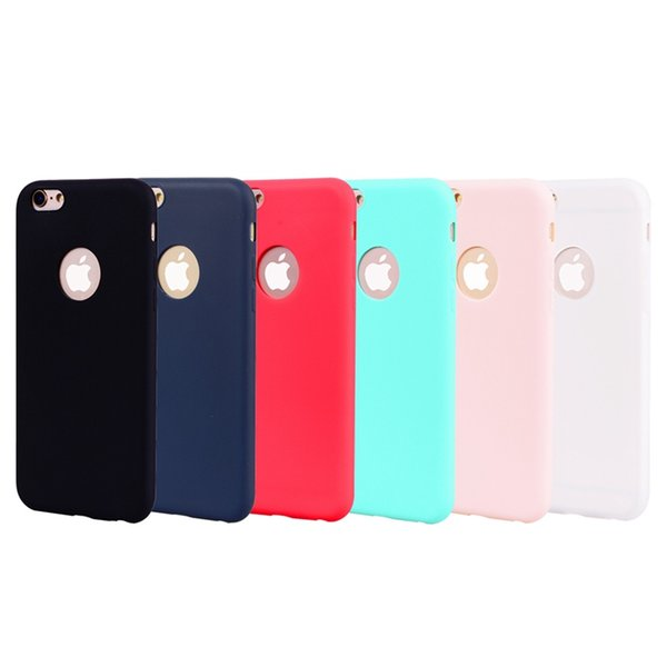 Case For iPhone X 8 Plus 7 Plus 6 6S Plus 5 5S SE Frosted Back Cover Solid Color Simple Soft TPU