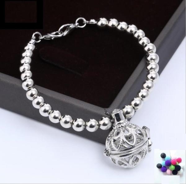Fashion CCB Beads Black Lava Stone DIY Essential Oil Diffuser Bracelet Silver Rose Gold Bracelets Jewelry