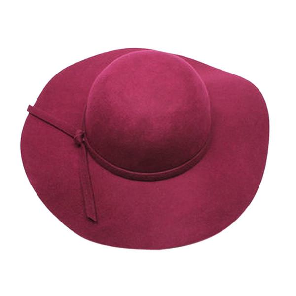 MAKE Hot Stylish Kids Girls Retro Felt Bowler Floppy Cap Cloche Hat-purple red