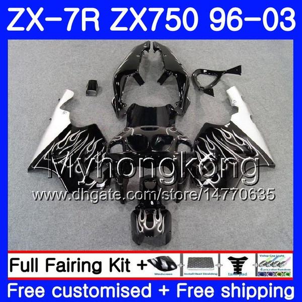 Corpo para KAWASAKI NINJA ZX-7R ZX750 ZX 7R 00 01 02 03 203HM.27 ZX-750 ZX 7 R ZX 750 ZX7R 1996 2000 2001 2002 2003 novas Chamas de Prata
