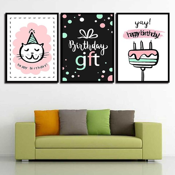 Abstract Wedding Decoration Wall Art Canvas Paintings Birthday Gift Cake And Cat Posters HD Prints Nordic Watercolor Picture