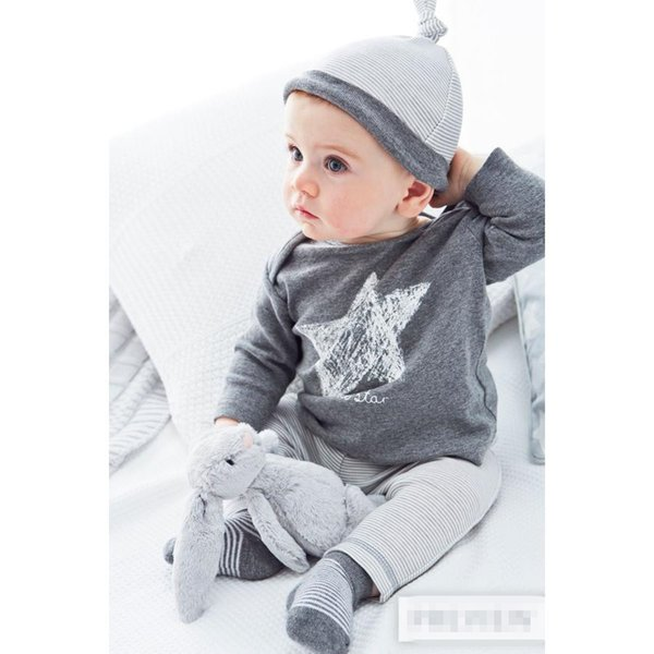 2018 New style Baby Clothing Sets Baby Girls Boys newborn Clothes Star pattern T-shirt+pants+hat 3pcs suit infant clothes Y18102207