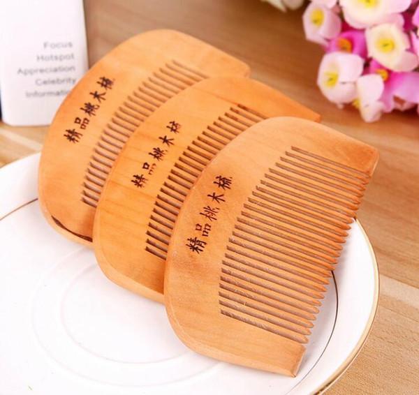 100 Adet Ahşap Tarak Doğal Sağlık Şeftali Ahşap Anti-statik Sağlık Sakal Tarak Cep Combs Hairbrush Masaj Saç Şekillendirici Aracı