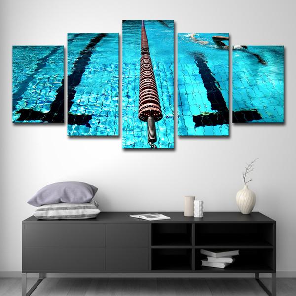 Impressions Sur Toile Peintures Salon Mur Art 5 Pièces Bleu Piscine Paysage Photos Décor À La Maison Affiche de Sport