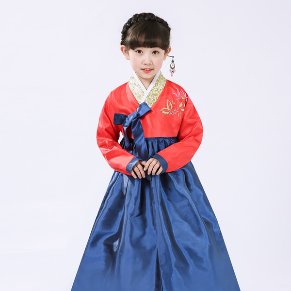 Korean Traditional Clothing National Hanbok for Child Ethnic Costumes Embroidered Traditional Hanbok for Girls Performance