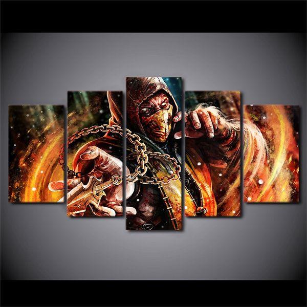 Mortal Kombat,5 Pieces Canvas Prints Wall Art Oil Painting Home Decor (Unframed/Framed) #14
