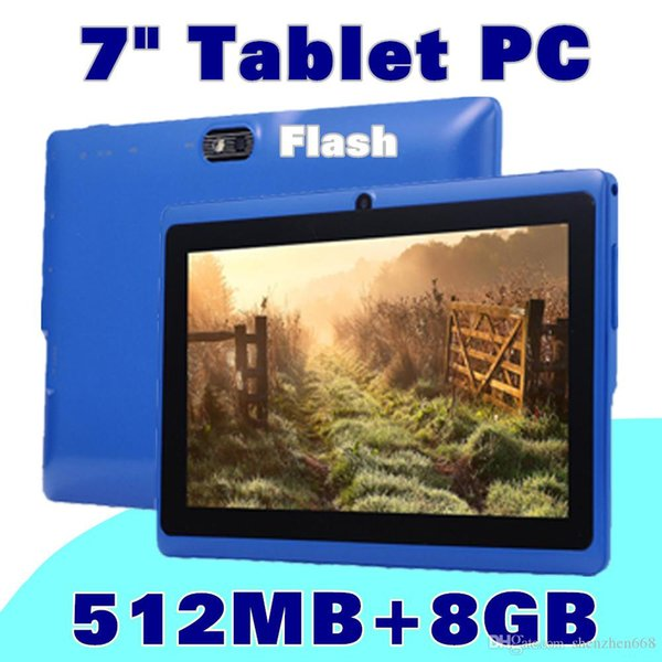 cheap tablets wifi 7 inch 512MB 8GB ram A33 Quad Core Allwinner Android 4.4 Capacitive Tablet PC Dual Camera facebook Q88 Flashlig K-7PB