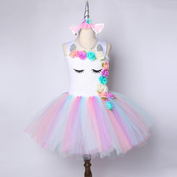 Flower Girls Unicorn Tutu Dress Pastel Rainbow Princess Girls Birthday Party Dress Children Kids Halloween Unicorn Costume 2-14Y