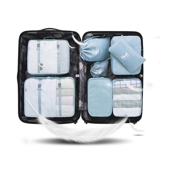 Yesello 8pcs / set Ropa de viaje familiar Ropa interior SocBags Embalaje Bolsa de equipaje para ocho tamaños Juego de ensacado de puntos