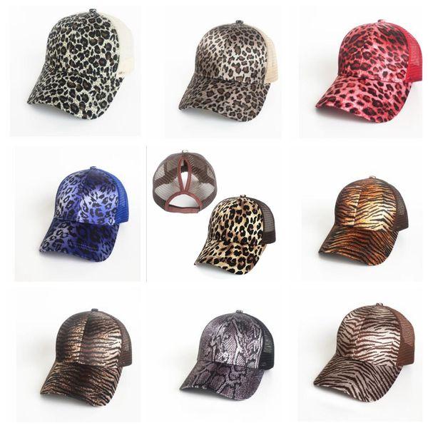 top popular Leopard Ponytail Baseball Cap Women Messy Bun Baseball Hat Snapback Summer Casual Girls Hip Hop Sport Hats 9 color KKA5556 2021