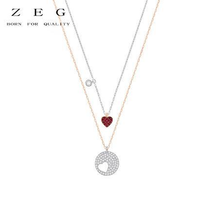 ZEG Hohe Qualität 2018 Neueste SW ROSKI Original Fashion Level Zwei In Einem Herz Halskette Hat Logo Frauen Schmuck Kostenlose Mail