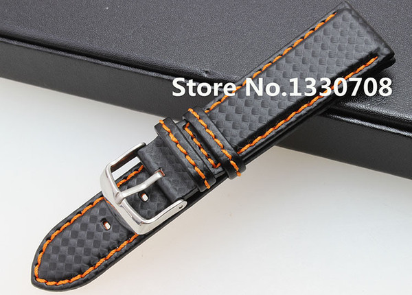 294e96369 20mm 21mm 22mm 23mm 24mm Watch Band Carbon Fibre Watch Strap With Orange  Soft Leather Lining Stainless Steel Clasp